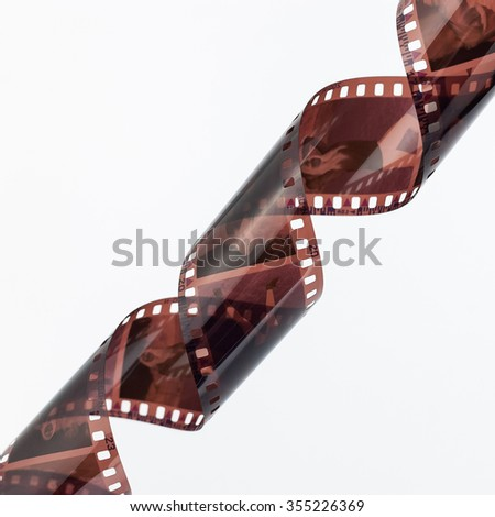 35mm photo film strip on white background