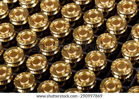 9mm pistol ammunition - the world's most popular and widely used military handgun cartridge. - stock photo