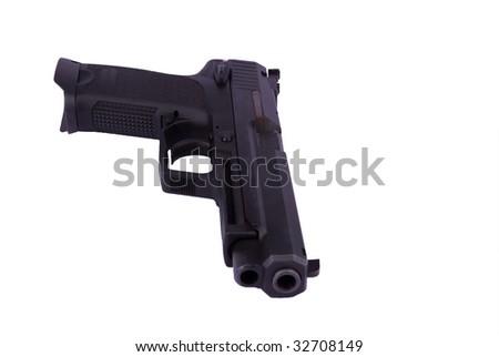 9 mm pistol isolated on white - stock photo