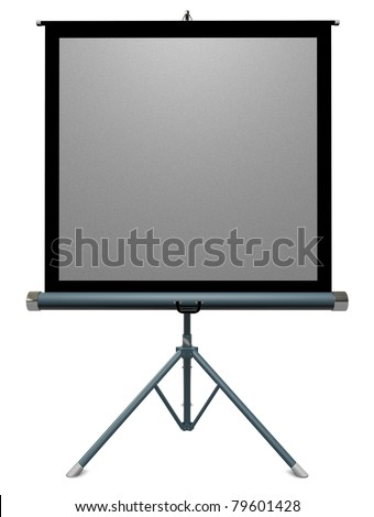 35mm portable slide projector screen on a white background - stock photo