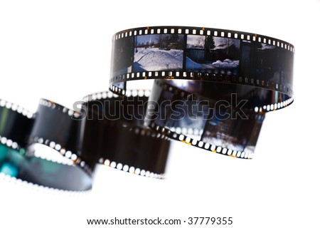 35 mm positive film on a white background - stock photo