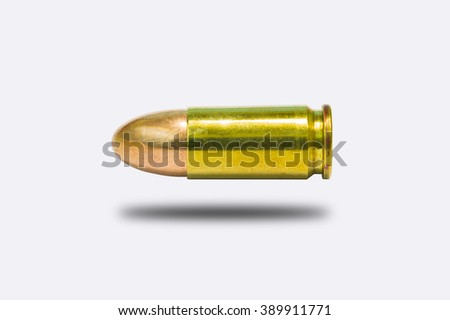 9mm practice bullet  for a gun on a white background - stock photo