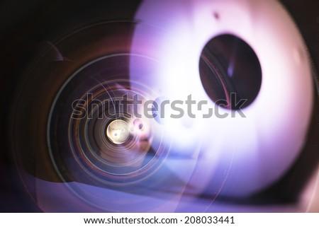 8mm prime fisheye lens. 8mm prime fisheye lens,aperture seem macro shot.  - stock photo