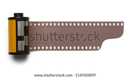 35 mm Roll Film Negative Isolated on White Background. - stock photo