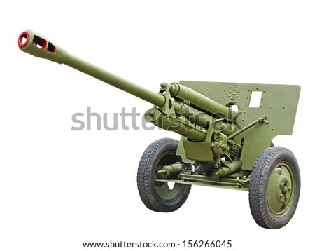 76-mm Russian division cannon gun from WWII isolated on white background.  - stock photo