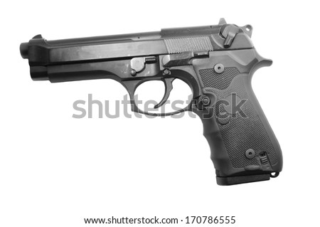 9mm semi-automatic Handgun isolated on a white background