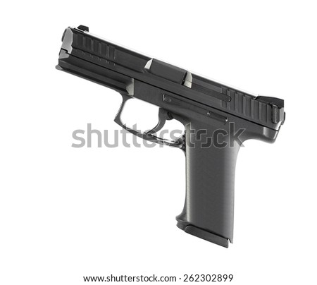 9mm semi-automatic pistol - stock photo