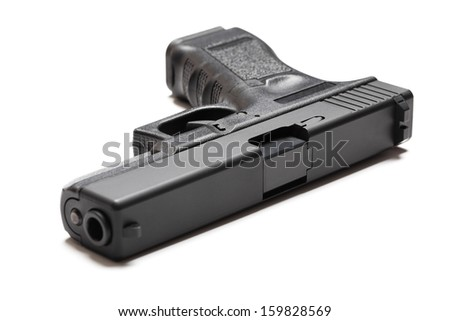 9mm semi-automatic pistol on white background - stock photo