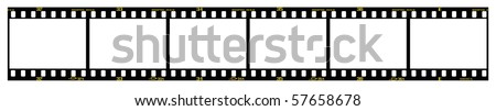 35mm slide/positive frames in filmstrip, with details and accurate dimension. - stock photo
