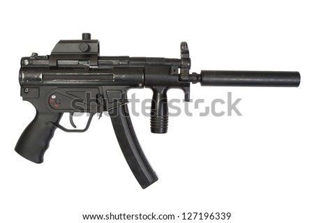 9mm submachine gun with silencer isolated on a white background - stock photo