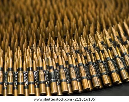 Machine Gun Bullet Belt Bullets in Machine Gun