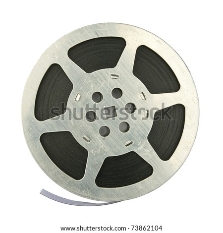 16mm vintage motion picture film reel, isolated on white background - stock photo