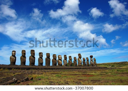 15 Moai at Ahu Tongariki, Easter Island, Chile - stock photo