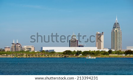 Mobile, Alabama, skyline on Mobile Bay - stock photo