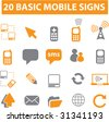 20 mobile connection icons. raster version. visit my portfolio for a vector version. - stock photo
