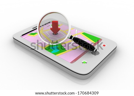 Mobile map with magnifying glass - stock photo