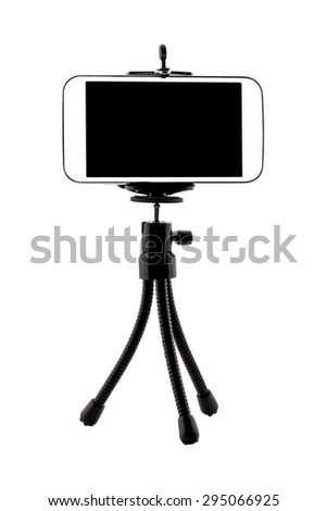 Mobile Phone isolated on tripod in white background - stock photo