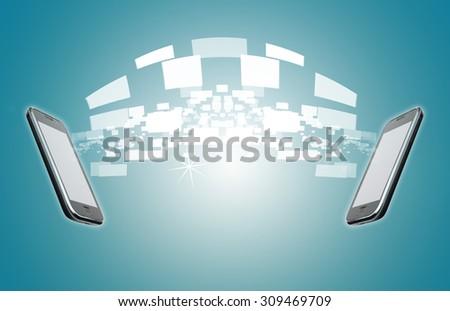 Mobile phone Long distance Communication - stock photo