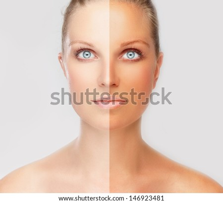 Model's face divided in two parts - tanned(solarium,spray tanning) and natural - stock photo