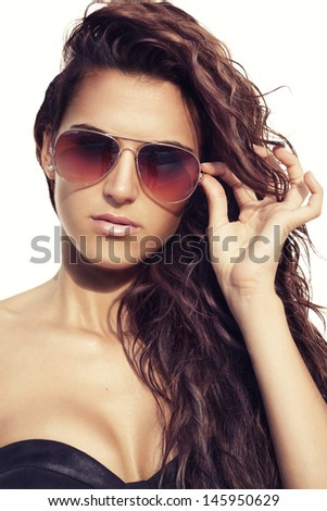 Model with sunglasses - stock photo