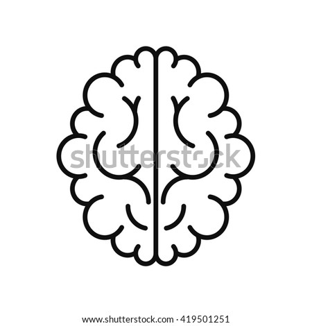 modern brain black icon isolated on white background - stock photo