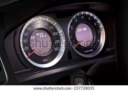 Speedometer Fuel Tank Level New Car Stock Photo - Car image sign of dashboardcar dashboard sign multifunction display stock photo royalty