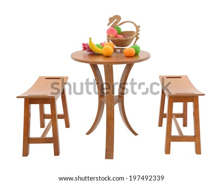 Modern Chinese Furniture Set With Table And Chair ,fruits On Table In  Studio On White