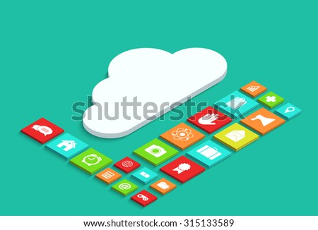 modern concept 3d isometric computer cloud infographic with app - stock photo