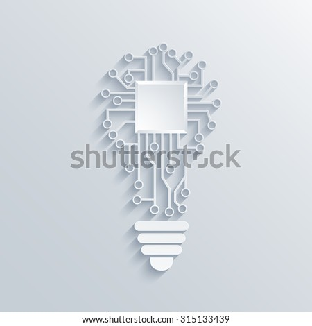 modern concept light bulb with circuit board - stock photo
