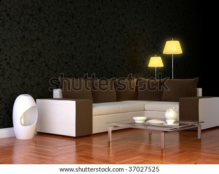 ? modern 3d interior composition with lamps