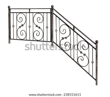 Modern decorative  banisters, railing. Isolated over white background. - stock photo