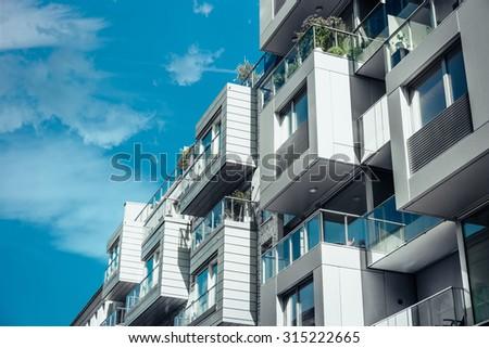 modern designed residential house in berlin - stock photo