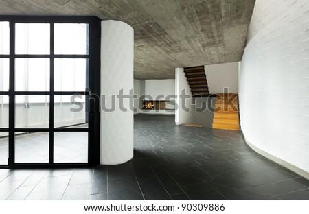 modern empty villa, large window, background room  fireplace - stock photo
