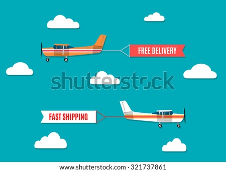 modern flat concept design on flying advertising banners pulled by light plane - stock photo