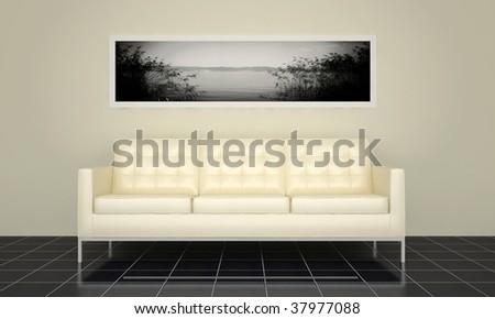 modern interior with white sofa - stock photo