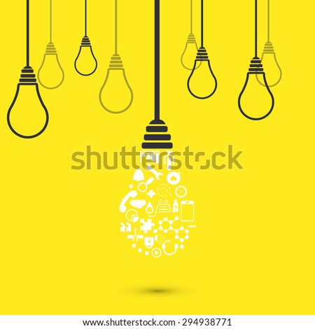 modern light bulb background. Idea design - stock photo