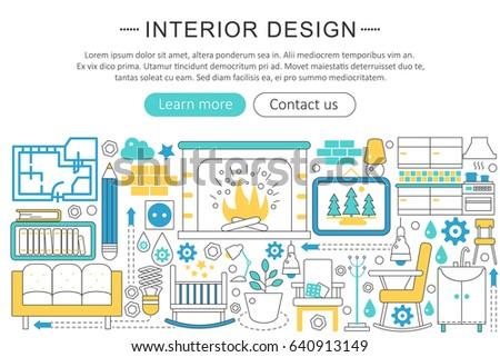 Modern Line Flat Interior Design Decor Concept Decoration Icons Website Header App