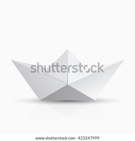 modern origami boat with shadow on transparent background