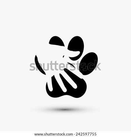 modern paw hold hand black icon on white background - stock photo
