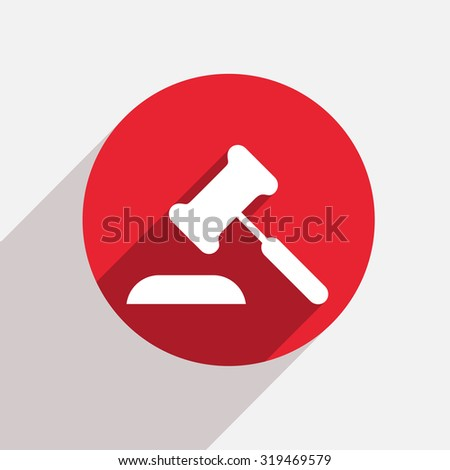 modern red circle icon with shadow - stock photo