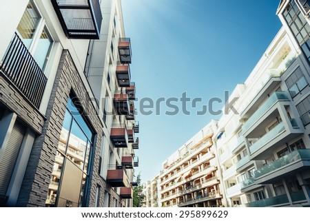 modern residential houses berlin kreuzberg   modern residential houses - stock photo