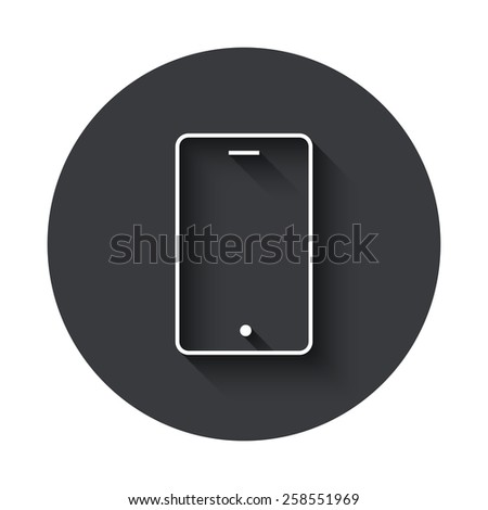 modern smartphone gray circle icon on white background