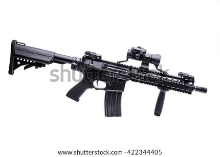 Modern US specops rifle with optic scope isolated on white background/US specops rifle isolated - stock photo