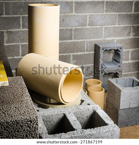 modular ceramic chimney in the house - stock photo