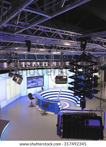 "05.04.2015, MOLDOVA, ""Publika TV"" NEWS studio with light equipment ready for recordind release - stock photo"