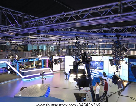 "05.04.2015, MOLDOVA, ""Publika TV"" NEWS studio with light equipment ready for recordind release. - stock photo"