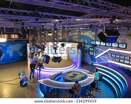 "05.04.2015, MOLDOVA, ""Publika TV"" NEWS studio with light equipment ready for recording release."