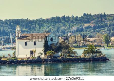 monastery on  Corfu island, Greece - stock photo