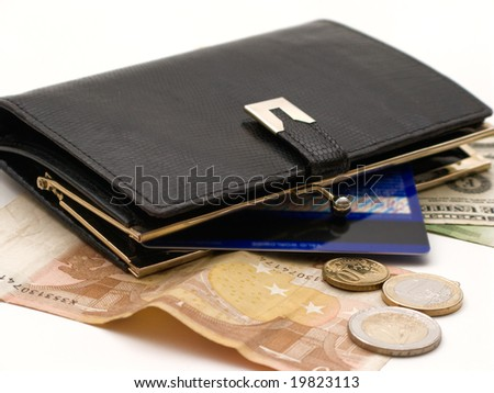 Money and post card in a wallet - stock photo