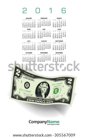 2016 Money calendar with a Two Dollar Bill - stock photo